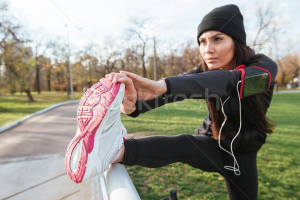 Fitness woman make sport exercise Stock photo © deandrobot