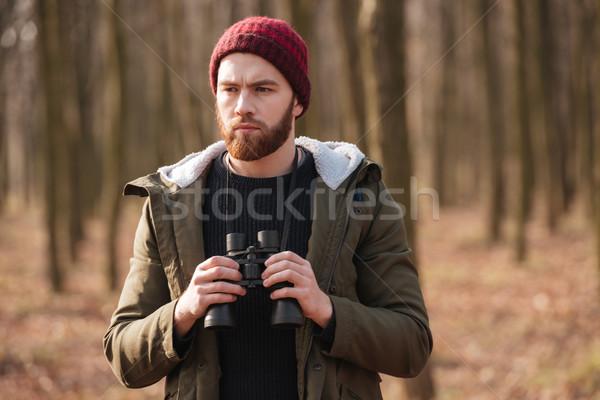 красивый бородатый человека лес изображение Сток-фото © deandrobot