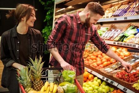 濃縮された 小さな 愛する カップル 立って スーパーマーケット ストックフォト © deandrobot