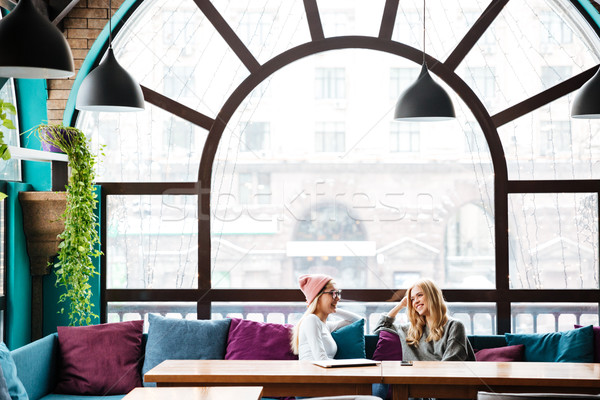 Two happy women sitting and talking in cafe Stock photo © deandrobot