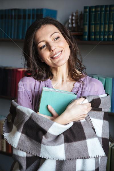 Portré boldog nő fedett pléd tart Stock fotó © deandrobot