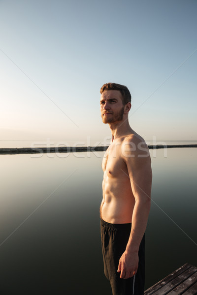 ストックフォト: 肖像 · 健康 · シャツを着ていない · スポーツマン · 立って · 屋外