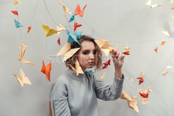 Vrouw permanente kleurrijk origami jonge vrouw heldere Stockfoto © deandrobot