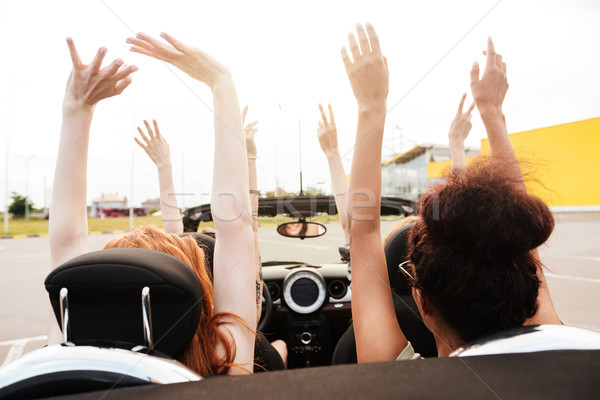 Back view photo of four women friends sitting in car Stock photo © deandrobot