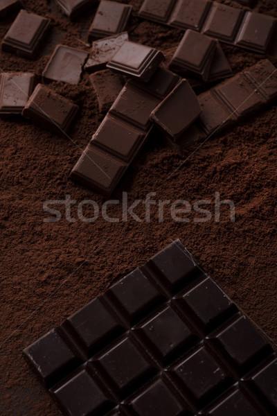 Foto stock: Chocolate · telha · peças · coberto · pó