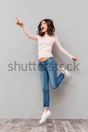 Stok fotoğraf: Güzel · kadın · başparmak · yukarı · jest · yalıtılmış