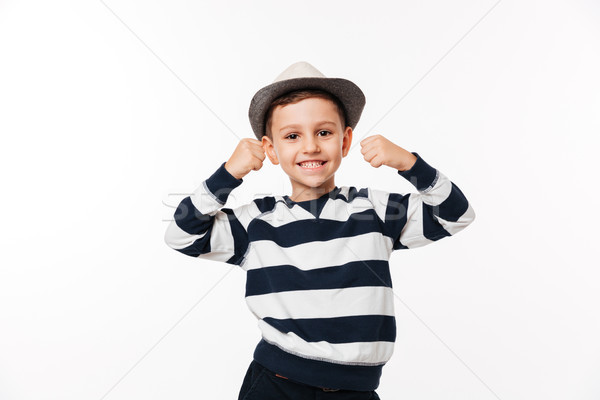 Portrait of a cheery cute little kid in a hat Stock photo © deandrobot