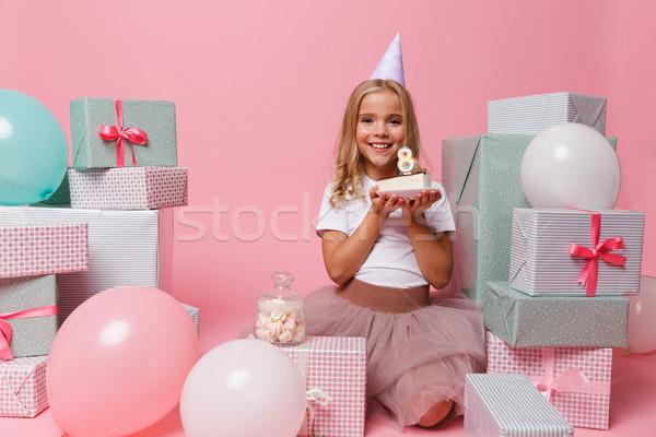 Zdjęcia stock: Portret · dziewczynka · urodziny · hat · uśmiechnięty