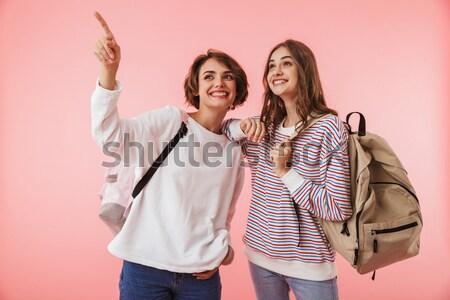 Stockfoto: Twee · gelukkig · brunette · vrouw · kleurrijk