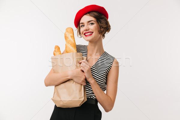 Retrato alegre mulher boina Foto stock © deandrobot