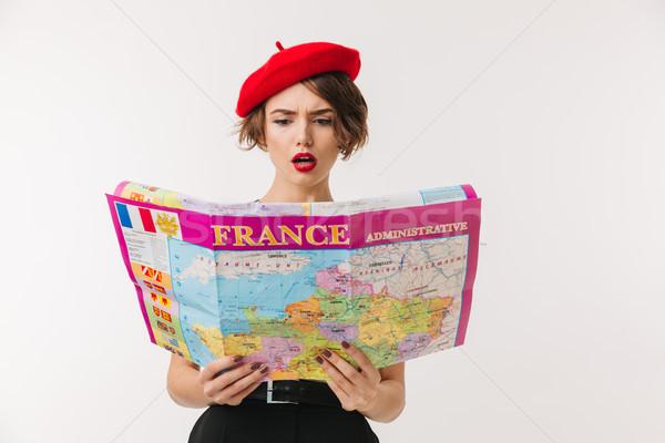 портрет путать женщину красный берет Сток-фото © deandrobot