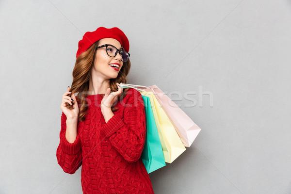 Portret glimlachende vrouw Rood trui bril Stockfoto © deandrobot