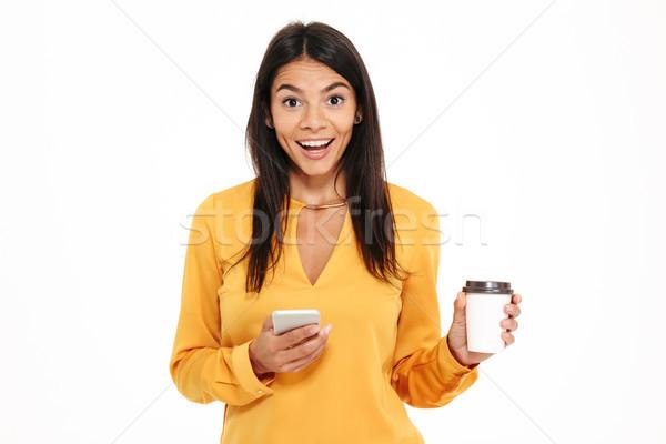 ストックフォト: 肖像 · 興奮した · 幸せ · 女性 · 携帯電話