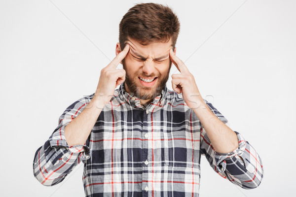 Portret jonge man shirt hoofdpijn Stockfoto © deandrobot