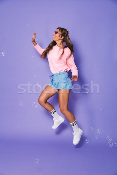 Teljes alakos portré vicces tini nő kettő Stock fotó © deandrobot