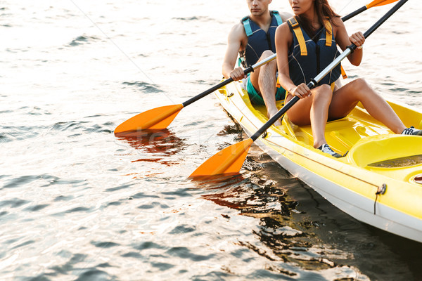 Amoroso casal caiaque lago mar barco Foto stock © deandrobot
