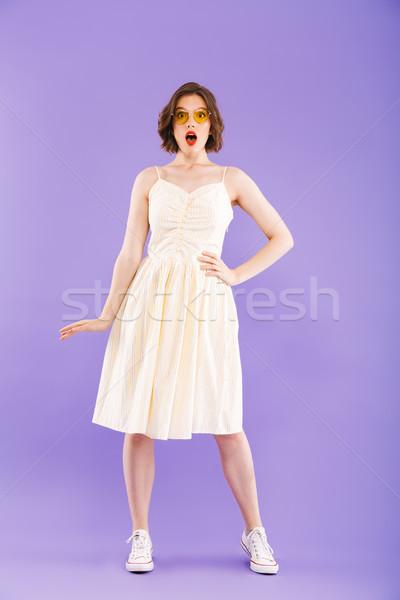 Stock fotó: Teljes · alakos · portré · megrémült · fiatal · nő · nyár · ruházat