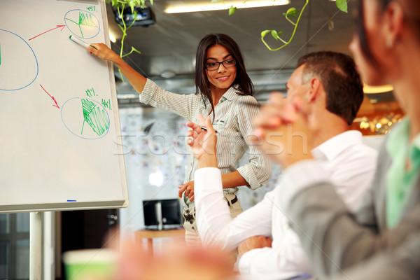 Boldog üzletasszony magyaráz grafikon kollégák üzlet Stock fotó © deandrobot