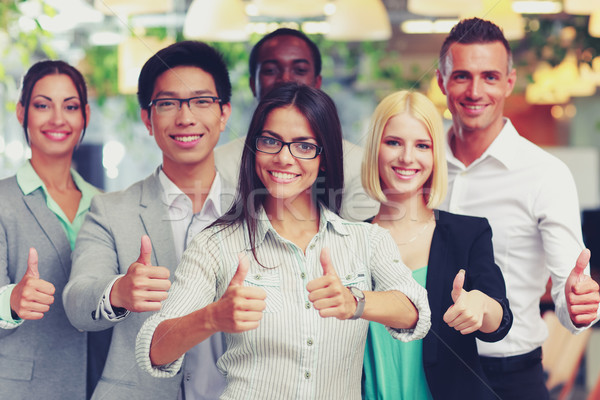 Boldog üzleti csoport remek üzlet nő férfi Stock fotó © deandrobot