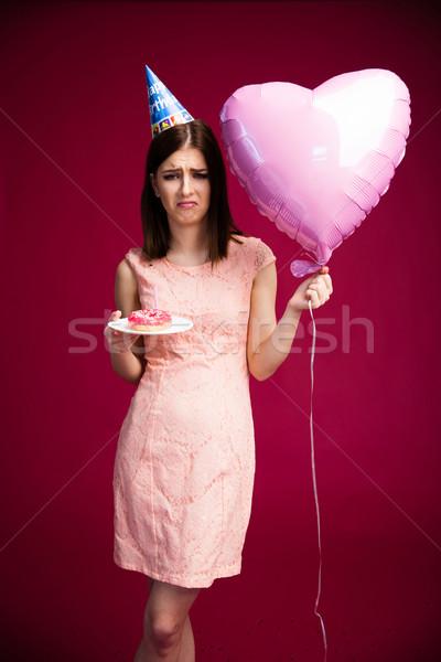 Stockfoto: Vrouw · hart · ballon · donut