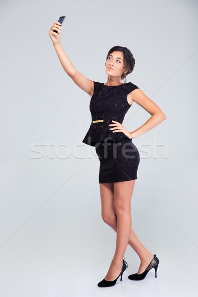 Nő fekete ruha készít fotó teljes alakos portré Stock fotó © deandrobot