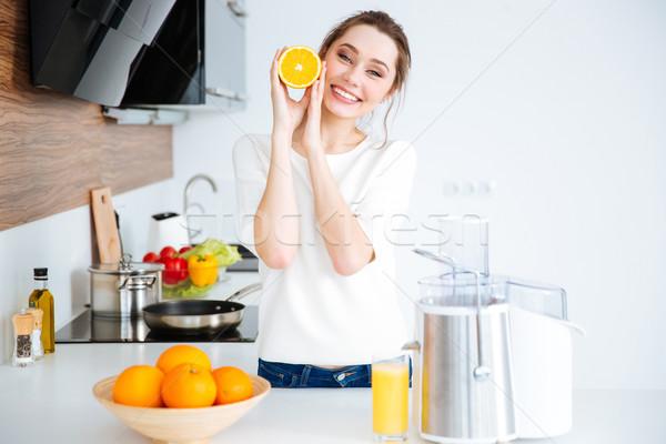 Glücklich Frau orange Hälfte frischen Stock foto © deandrobot