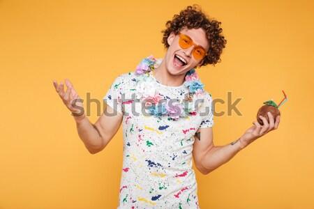 Aufgeregt überrascht Hausfrau blau Schürze gelb Stock foto © deandrobot