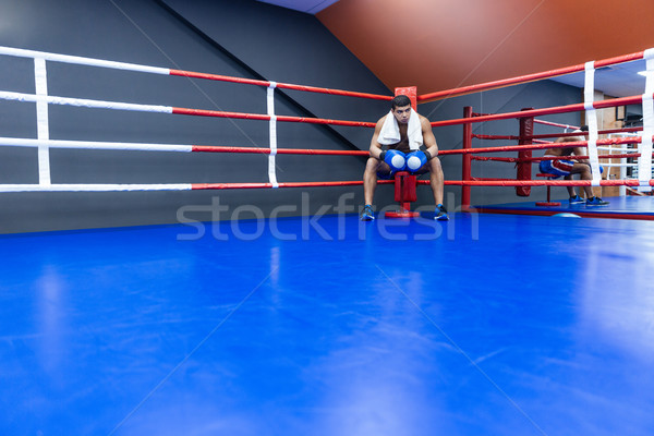 Боксер бокса кольца мужчины полотенце Сток-фото © deandrobot