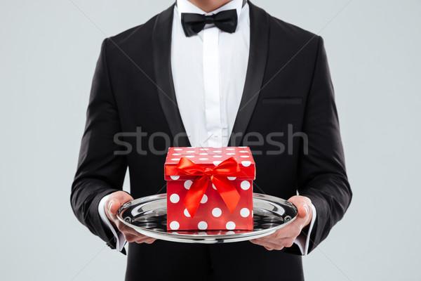 Butler smoking dienblad geschenkdoos Stockfoto © deandrobot
