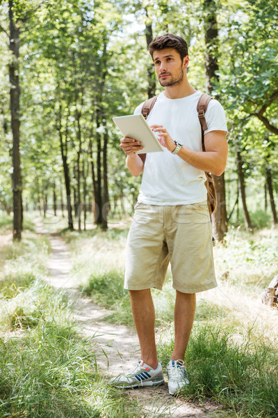 Full length of man with backpack using tablet in forest Stock photo © deandrobot