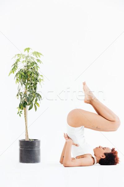 魅力的な アフリカ系アメリカ人 若い女性 バランス ヨガのポーズ 小 ストックフォト © deandrobot