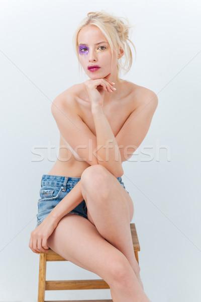 Güzel gömleksiz genç kadın sanat makyaj oturma Stok fotoğraf © deandrobot