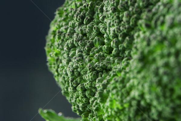 Közelkép brokkoli virág izolált fekete étel Stock fotó © deandrobot