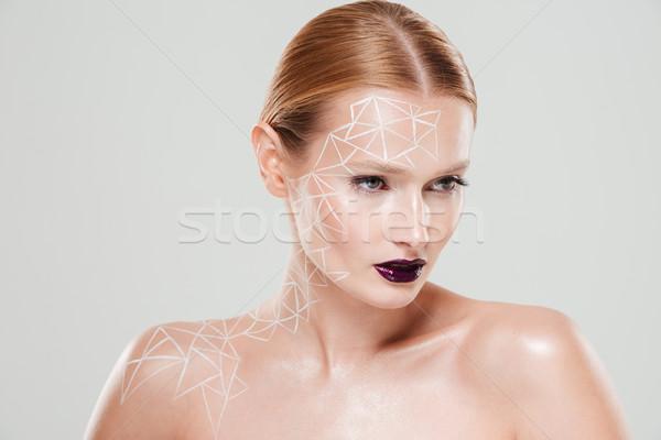 Rejtély meztelen nő testművészet közelkép arc Stock fotó © deandrobot