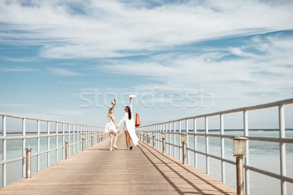 Kettő boldog fiatal nők sétál móló néz Stock fotó © deandrobot
