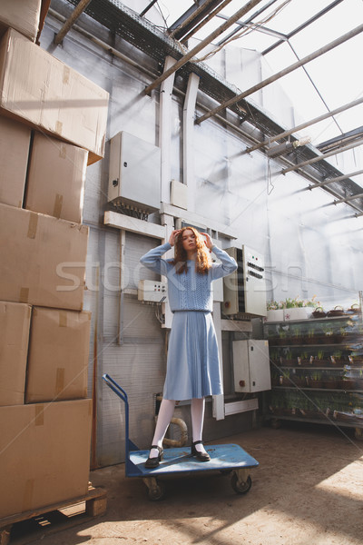 Nő áll talicska fiatal vonzó nő papír Stock fotó © deandrobot