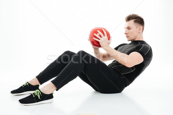 портрет молодые здорового спортсмена человека брюшной Сток-фото © deandrobot