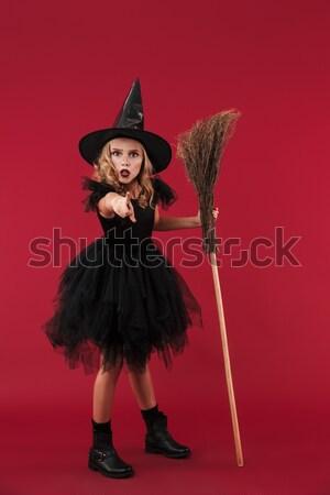 Tam uzunlukta görüntü ciddi dalgın kadın halloween Stok fotoğraf © deandrobot