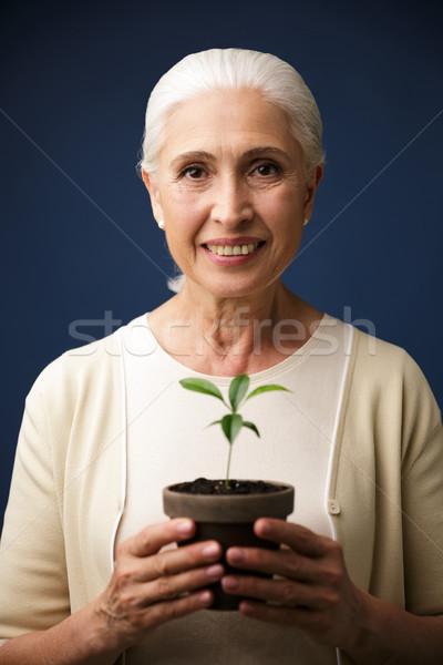 Közelkép fotó örvend kopott nő tart Stock fotó © deandrobot
