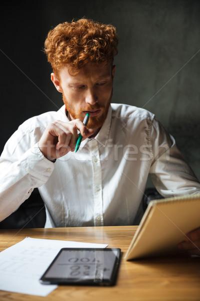 Fotoğraf genç düşünme sakallı adam beyaz Stok fotoğraf © deandrobot