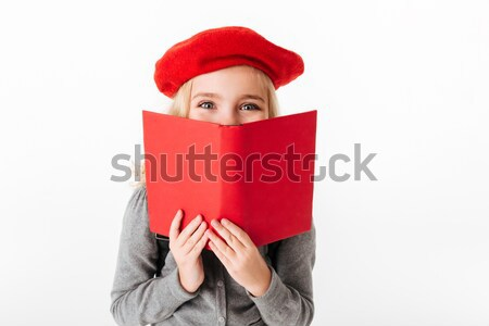 Close up portrait of a little schoolgirl dressed in uniform Stock photo © deandrobot