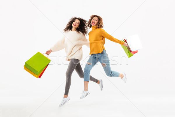 изображение два девочек работает вместе Сток-фото © deandrobot