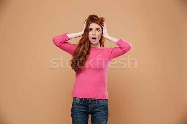 Portret geschokt jonge meisje Stockfoto © deandrobot