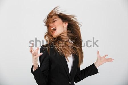 Portré dühös üzletasszony öltöny sikít izolált Stock fotó © deandrobot