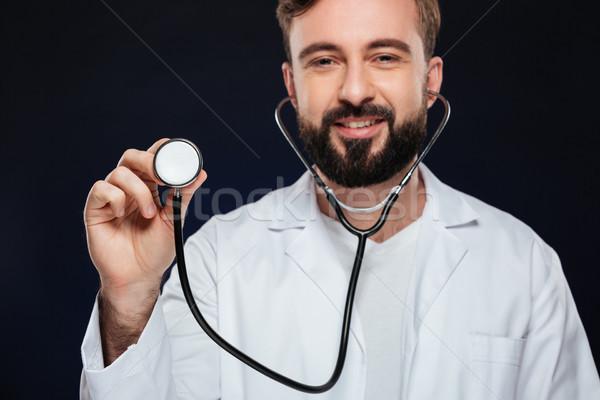 изображение счастливым мужской доктор равномерный стетоскоп Сток-фото © deandrobot