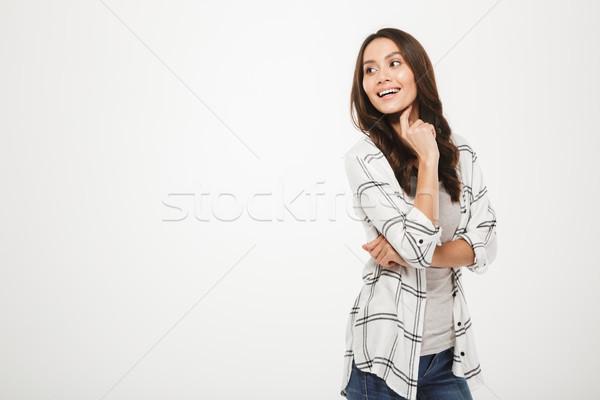 Retrato positivo bonitinho mulher magnífico sorrir Foto stock © deandrobot