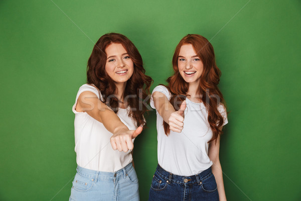 Portrait of two young redhead women 20s in casual wear smiling a Stock photo © deandrobot