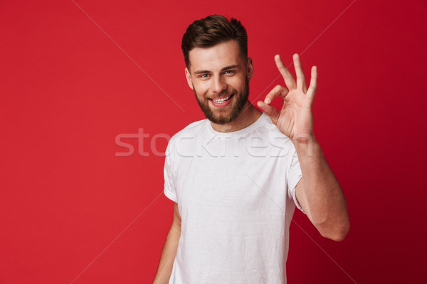 Happy young handsome man showing okay gesture. Stock photo © deandrobot