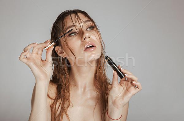 Moda retrato top-less mujer bonita maquillaje mojado Foto stock © deandrobot