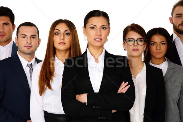 женщину ведущий команда белый бизнеса девушки Сток-фото © deandrobot